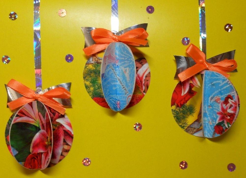новогодние поделки шарик из открытки когда появились