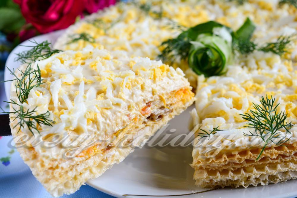 рецепт закусочный торт вафельные коржи