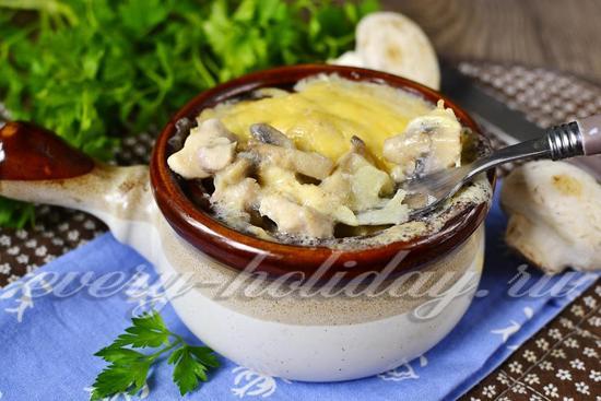 как приготовить жульен с курицей и грибами и картошкой рецепт с фото в духовке