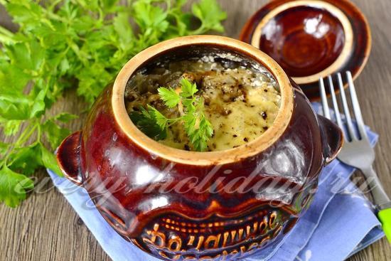 Курица в горшочках с картошкой и грибами в духовке рецепт с фото