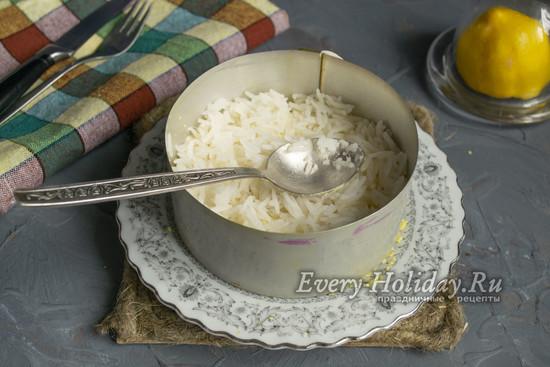 выложить слой риса