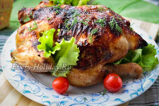 курица целиком в духовке в рукаве