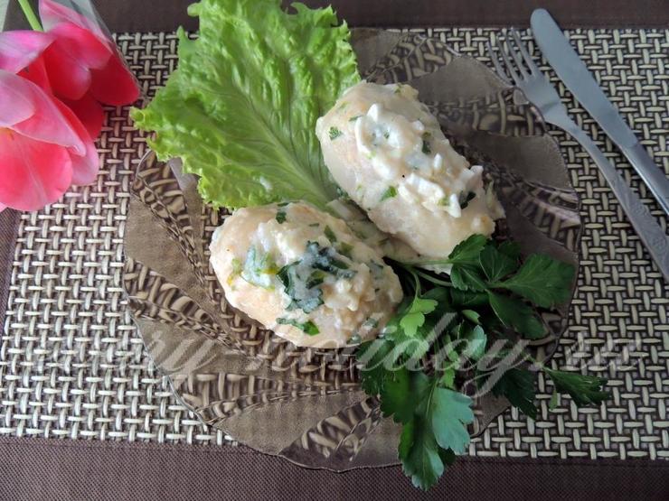 Кальмары, фаршированные рисом, яйцом и крабовыми палочками