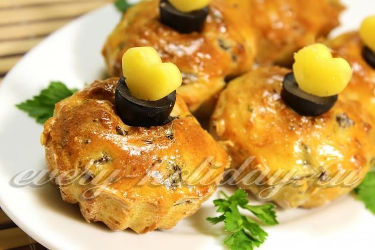 Маффины с сыром и грибами