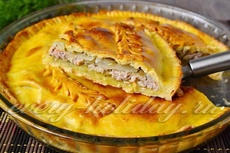 Пирог с мясом в духовке