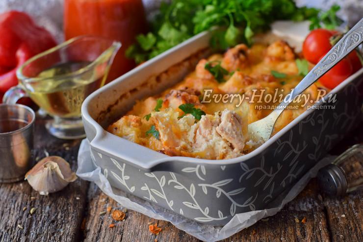Запеканка из цветной капусты с курицей в духовке