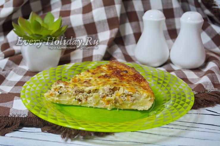 Пирог с мясом и капустой в духовке