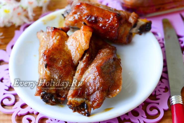 Свиные ребрышки в медово-горчичном соусе