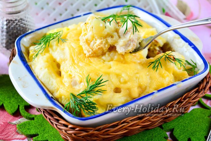 Курица с цветной капустой в духовке в сливочном соусе