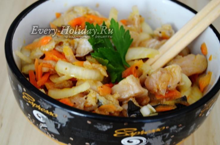 Хе из щуки по-корейски с уксусом и луком