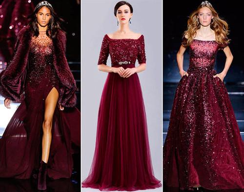 красивое бордо платье