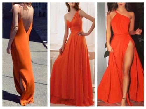 длинное апельсиновое платье