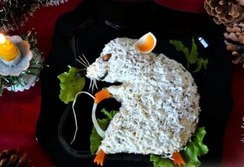 Салат на Новый год 2020 в виде Крысы: рецепт с фото пошагово, видео
